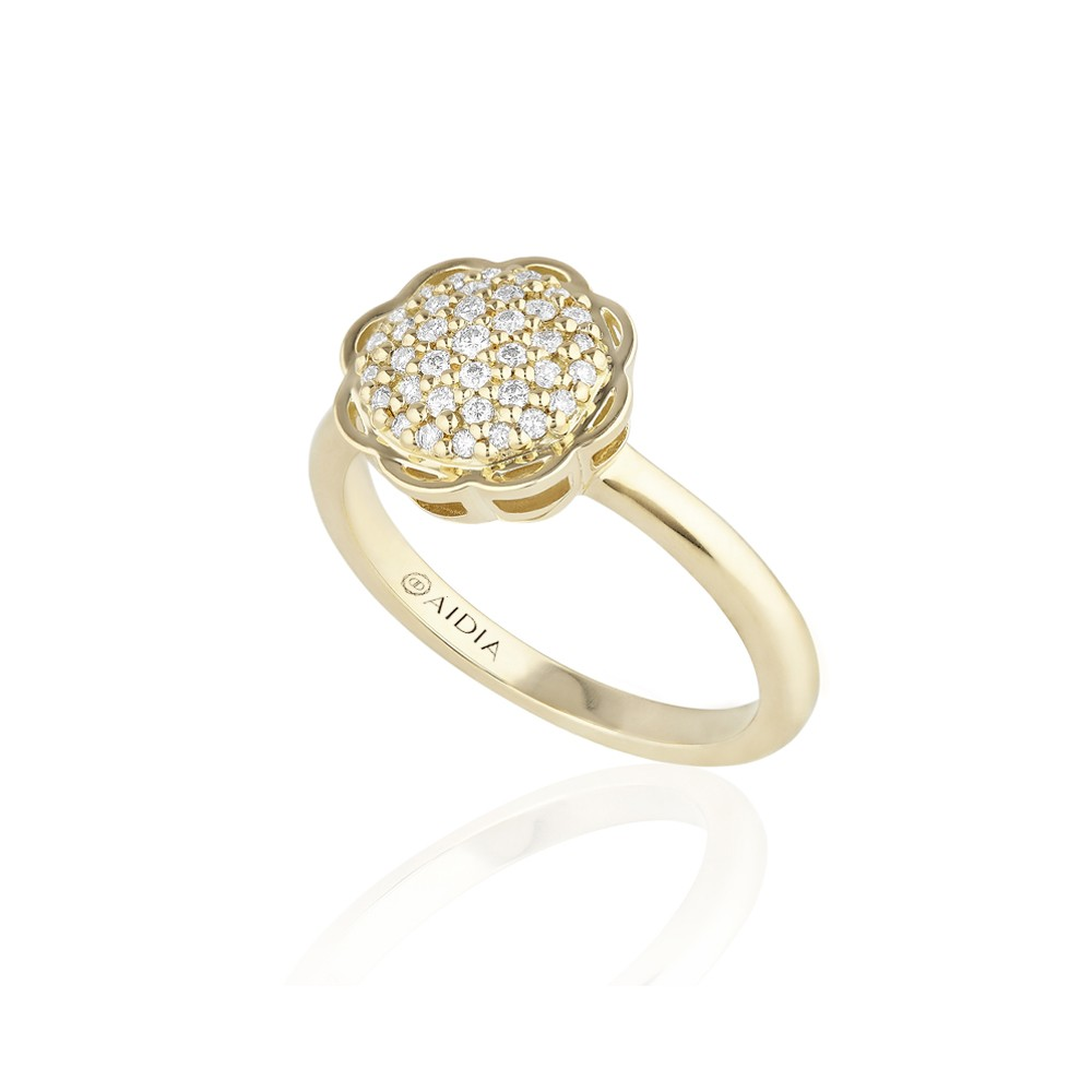 18K Yellow Gold Flora Ring with Lab Created Diamond Pave