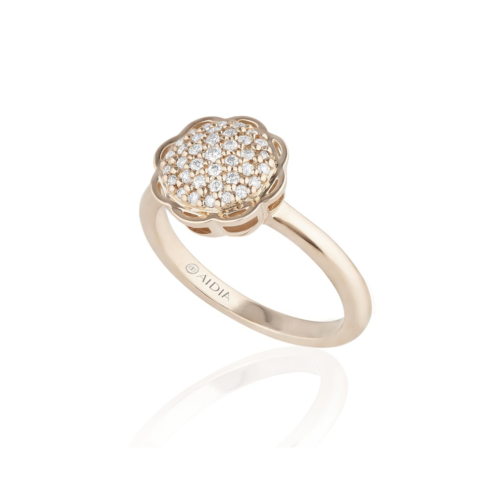 18K Rose Gold Flora Ring with Lab Created Diamond Pave