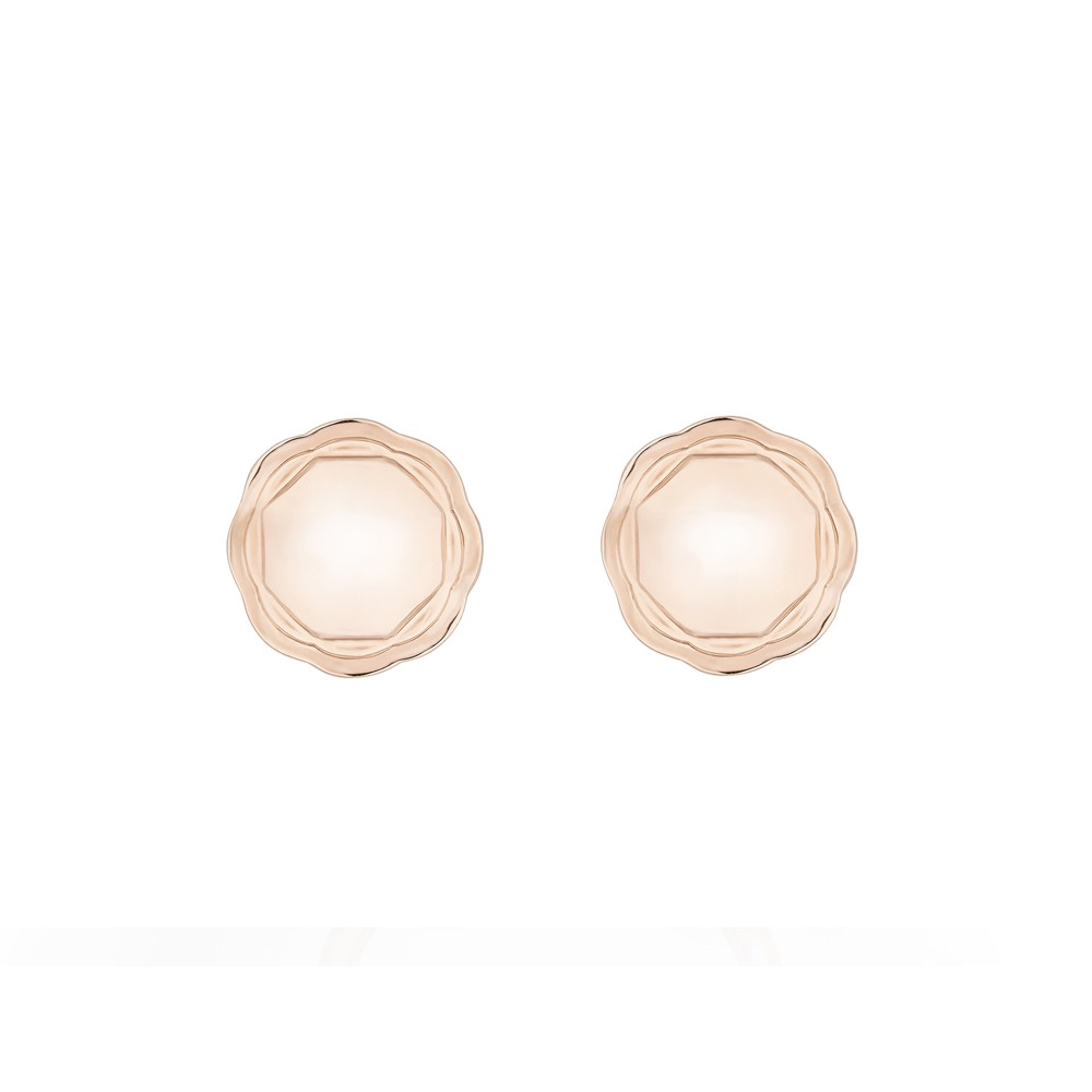 18K Rose Gold Double Circle Flora Earrings