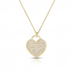18K Yellow Gold Love Bonds Pendant with Pave Lab-Grown Diamonds on AIDIA Extendable Link Chain