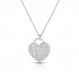 18K White Gold Love Bonds Pendant with Pave Lab-Grown Diamonds on AIDIA Extendable Link Chain