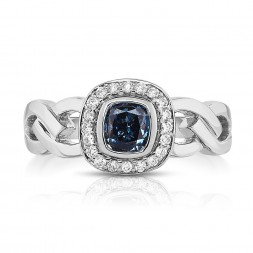 18K White Gold Halo Link Ring with a 0.46ct Fancy Deep Blue Cushion Cut Lab-Grown Diamond