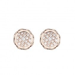 18K Rose Gold Flora Double Circle Earrings with Lab Created Diamond Pave