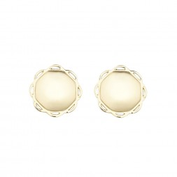 18K Yellow Gold Single Circle Flora Earrings