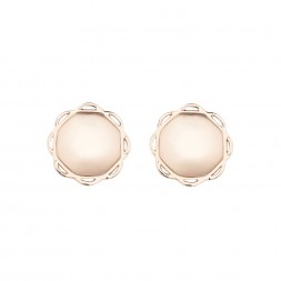18K Rose Gold Single Circle Flora Earrings