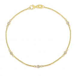 "7.5"" Yellow Gold Station Bracelet with 5 Lab Created Diamonds (0.15ct)"