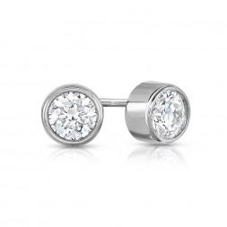14K White Gold Round Bezel Lab Created Diamond Studs (0.25ct)