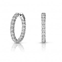 14K White Gold 4 Prong Share Oval Shaped Lab Created Diamond Hoop Earrings (2.00ct) Hoop Size 1""