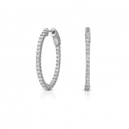 14K White Gold 2 Prong Oval Shaped Lab Created Diamond Hoop Earrings (1.35ct)