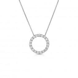 14K White Gold Lab Created Diamond Circle Pendant (1.20ct)