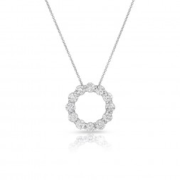 14K White Gold Lab Created Diamond Circle Pendant (3.00ct)