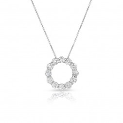 14K White Gold Lab Created Diamond Circle Pendant, AIDIA Extendable Link Chain (2.00ct)