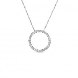 14K White Gold Lab Created Diamond Circle Pendant (0.75ct)