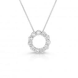 14K White Gold Lab Created Diamond Circle Pendant (2.00ct)