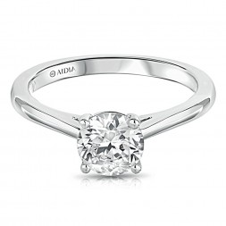 14K White Gold Thin-Shank Solitaire Engagement Ring