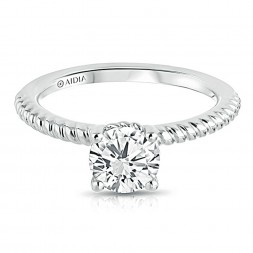 14K White Gold Engraved Twist Solitaire Engagement Ring