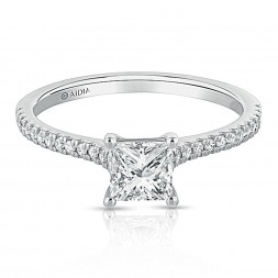 14K White Gold Classic Princess Cut Lab Created Diamond Engagement Ring