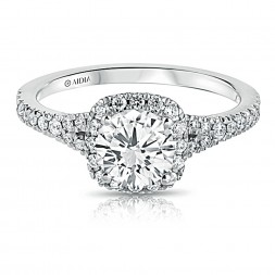 14K White Gold Cushion Halo Split Shank Lab Created Diamond Engagement Ring
