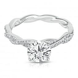 14K White Gold Mini Twist Pave Lab Created Diamond Engagement Ring