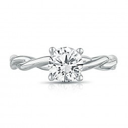 14K White Gold Twist Solitaire Engagement Ring