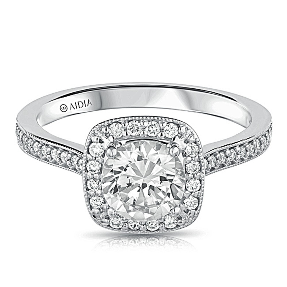 14K White Gold Vintage Milgrain Cushion Halo Lab Created Diamond Engagement Ring