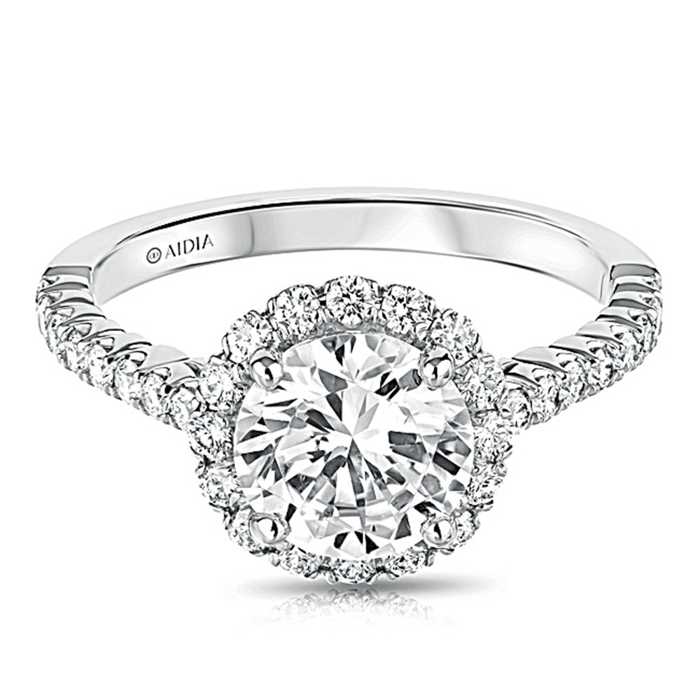 14K White Gold Scalloped Round Halo Lab Created Diamond Engagement Ring