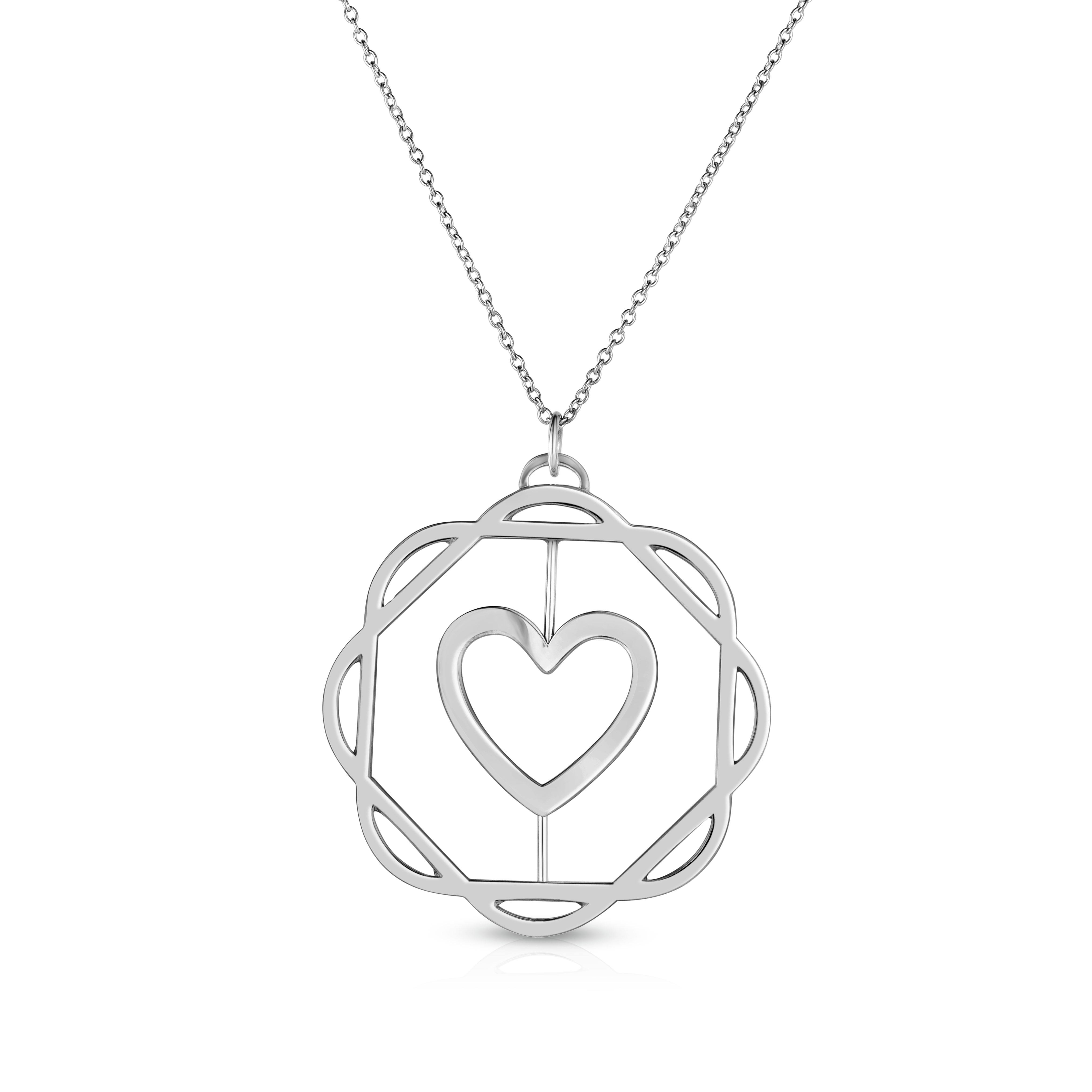 18K White Gold Love Bonds Cut-Out Flora Pendant with on AIDIA Extendable Link Chain