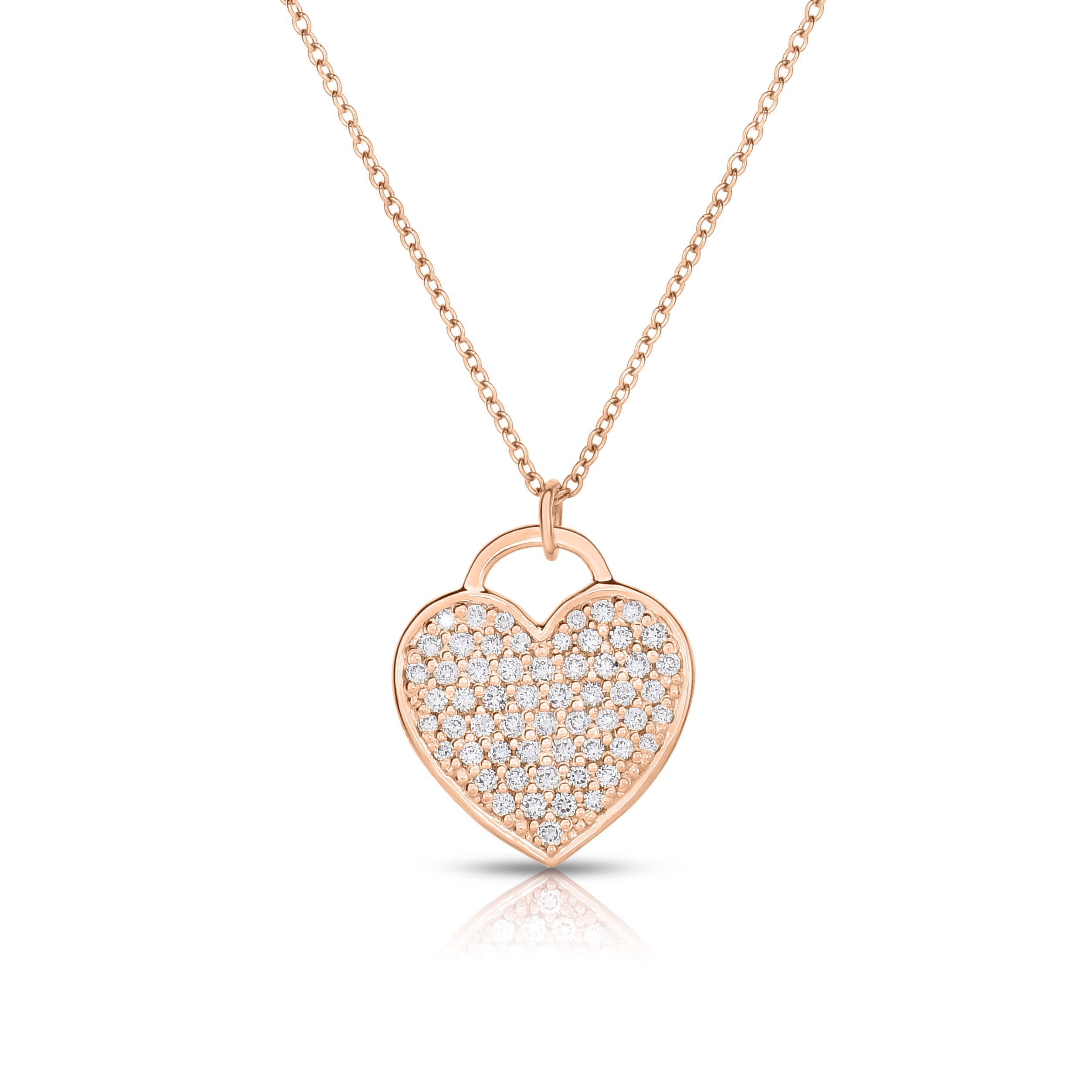 18K Rose Gold Love Bonds Pendant with Pave Lab-Grown Diamonds on AIDIA Extendable Link Chain