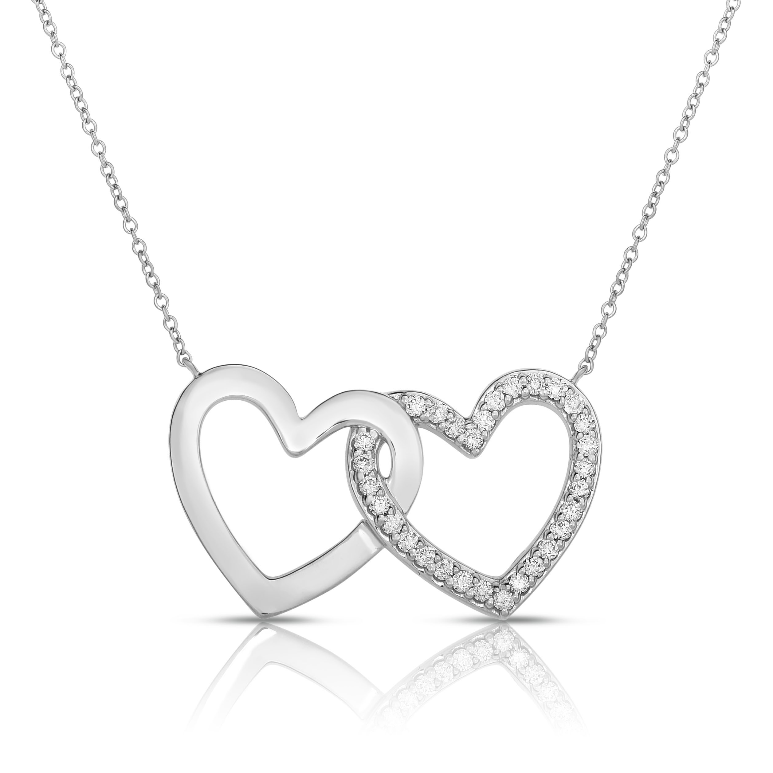 18K White Gold 2 Hearts Love Bonds Necklace with Lab-Grown Diamonds on AIDIA Extendable Link Chain