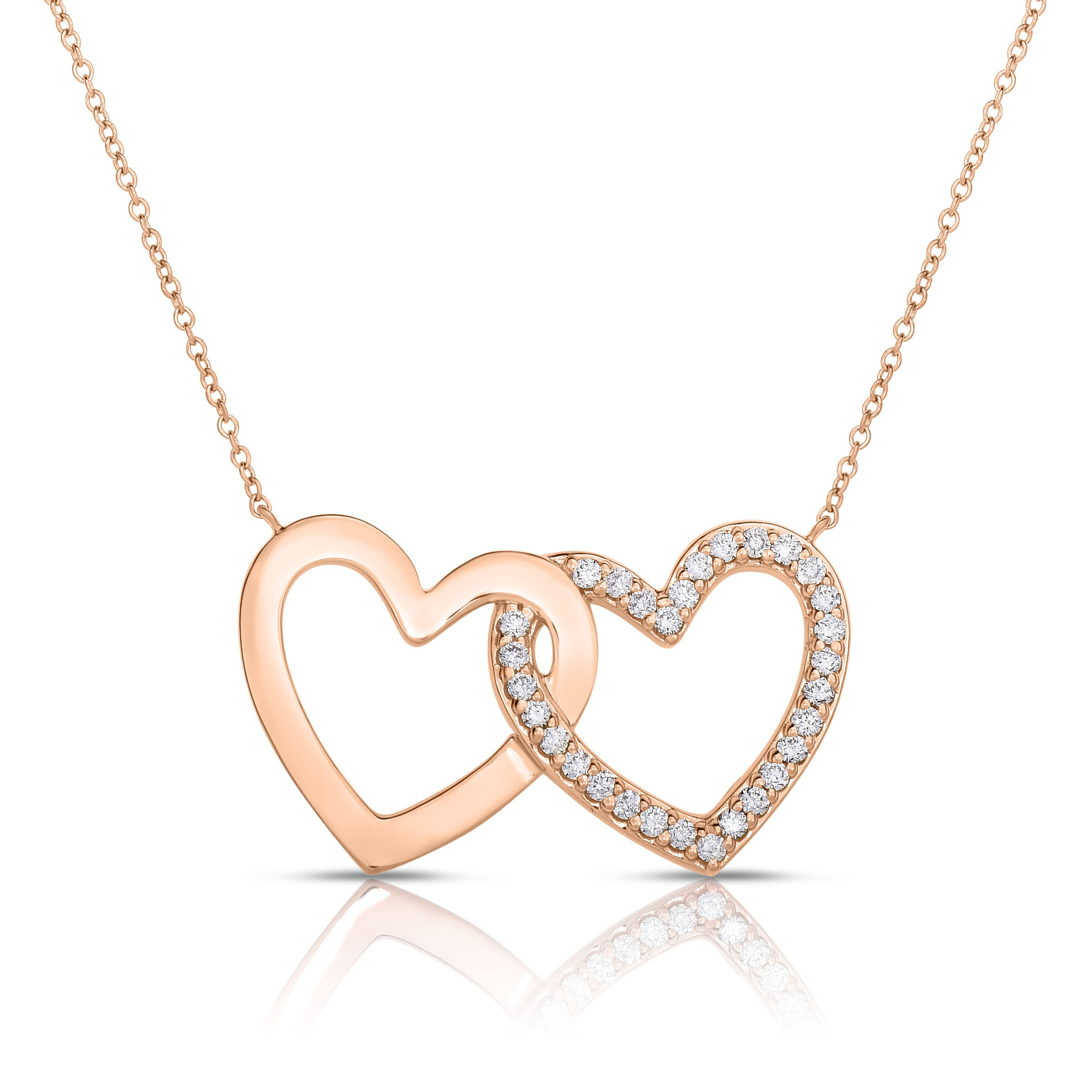 18K Rose Gold 2 Hearts Love Bonds Necklace with Lab-Grown Diamonds on AIDIA Extendable Link Chain