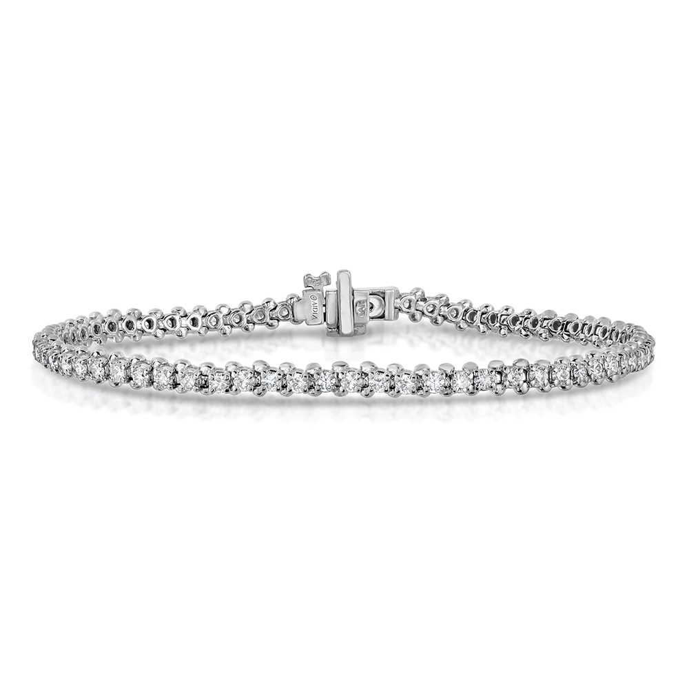 14k White Gold Lab Created Diamond Straight 4-Prong, Low Set Tennis Bracelet (6.50ct)