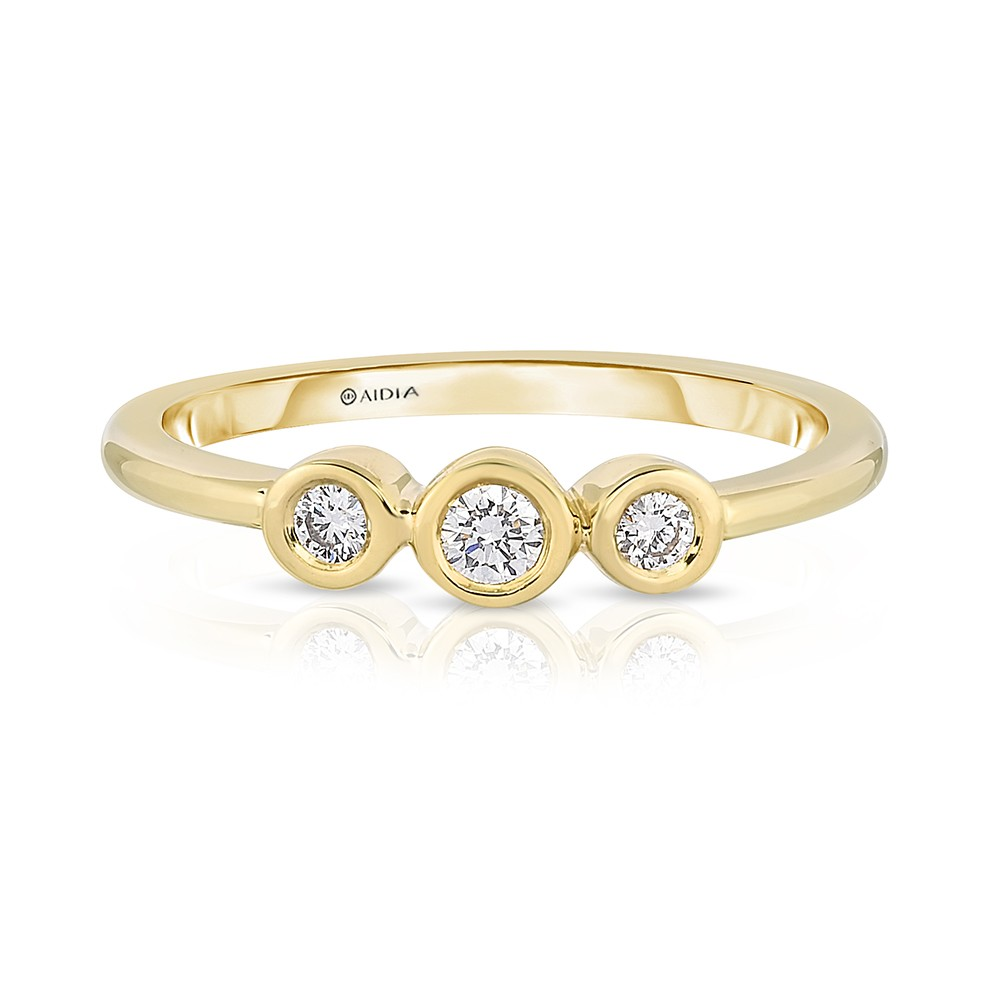18K Yellow Gold 3-Stone Link Ring with 3 Lab-Grown Diamonds