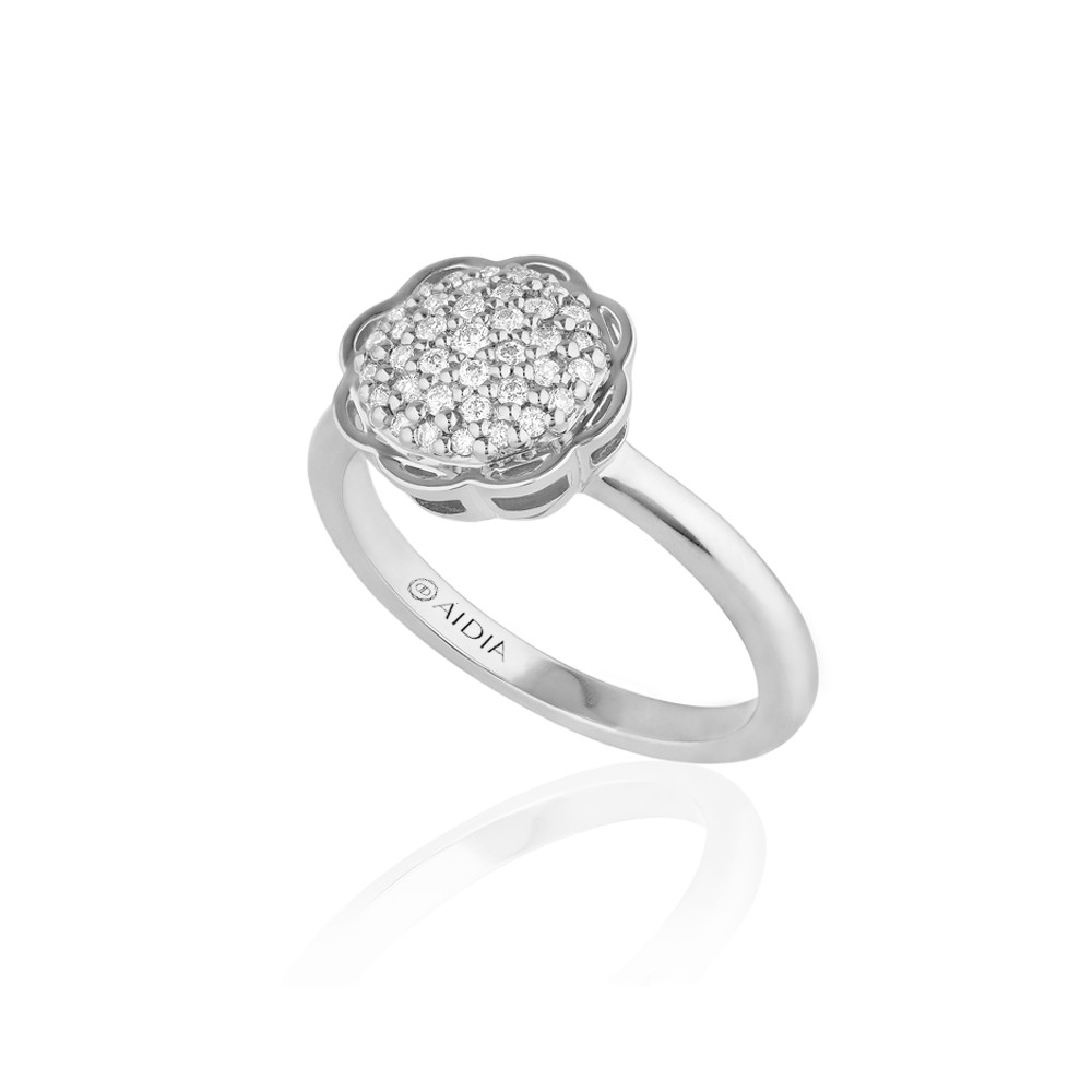 18K White Gold Flora Ring with Lab Created Diamond Pave
