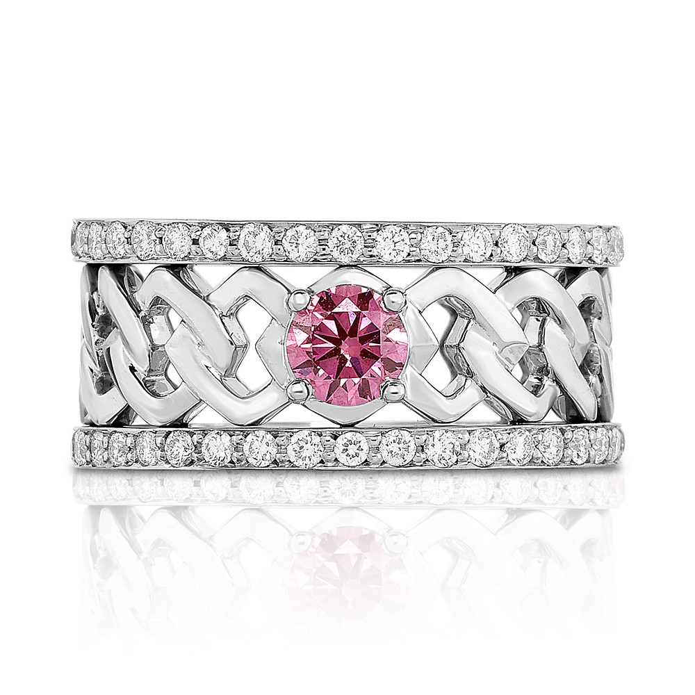 18K White Gold Link Ring with a 0.40ct Fancy Intense Pink Lab-Grown Diamond