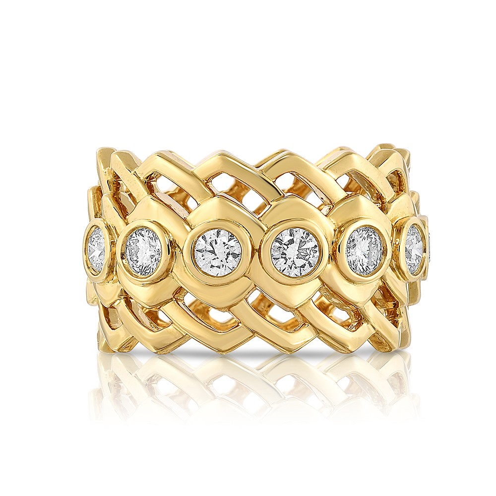 18K Yellow Gold Link Partial Eternity Band with 7 Lab-Grown Diamonds