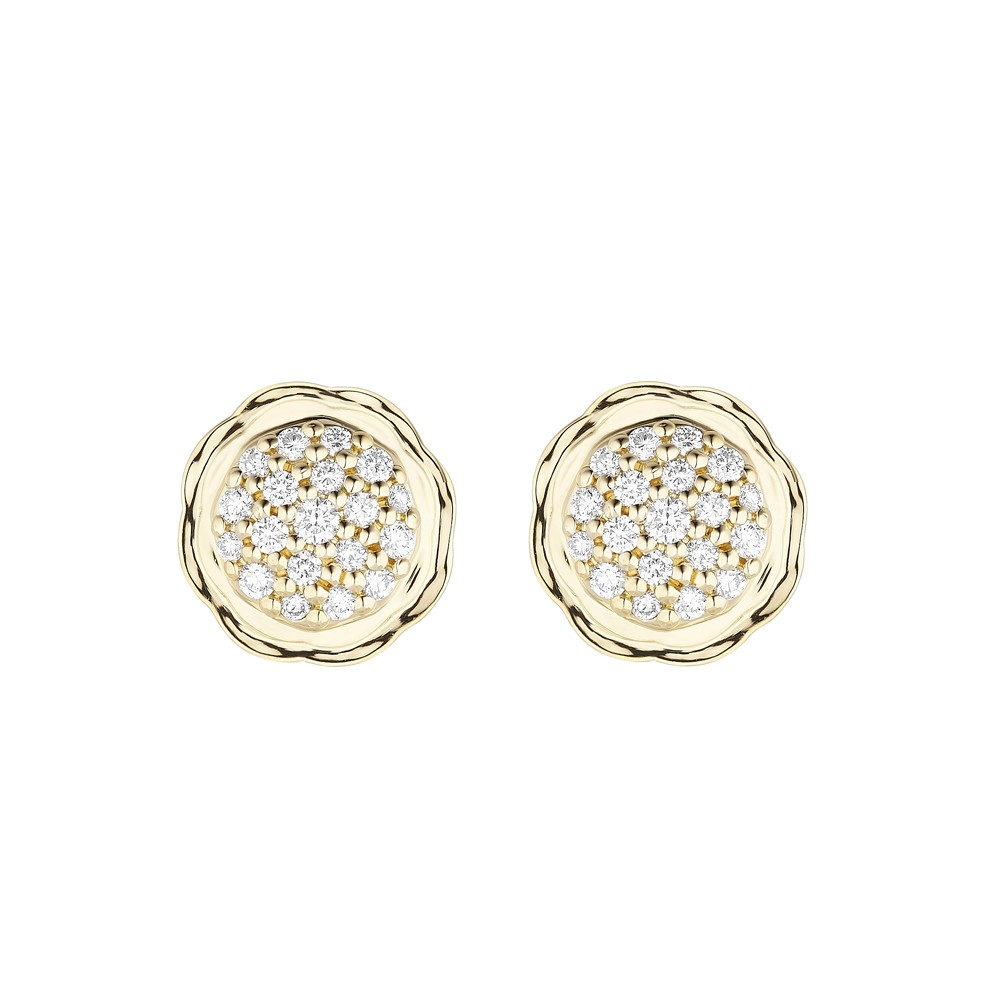 18K Yellow Gold Flora Double Circle Earrings with Lab Created Diamond Pave