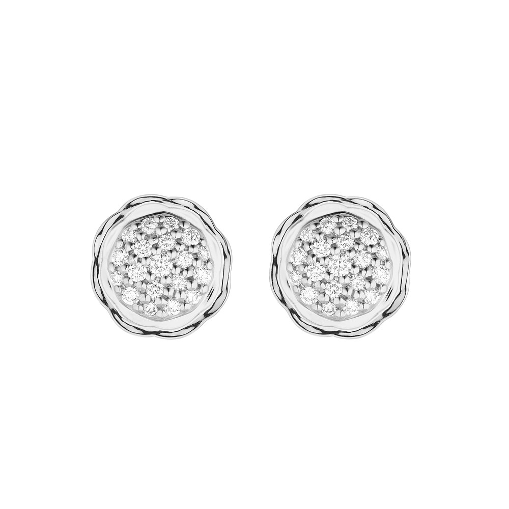 18K White Gold Flora Double Circle Earrings with Lab Created Diamond Pave