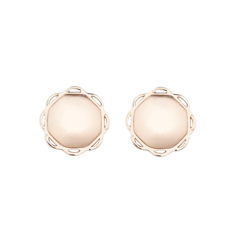 18K Rose Gold Single Circle Flora Earrings