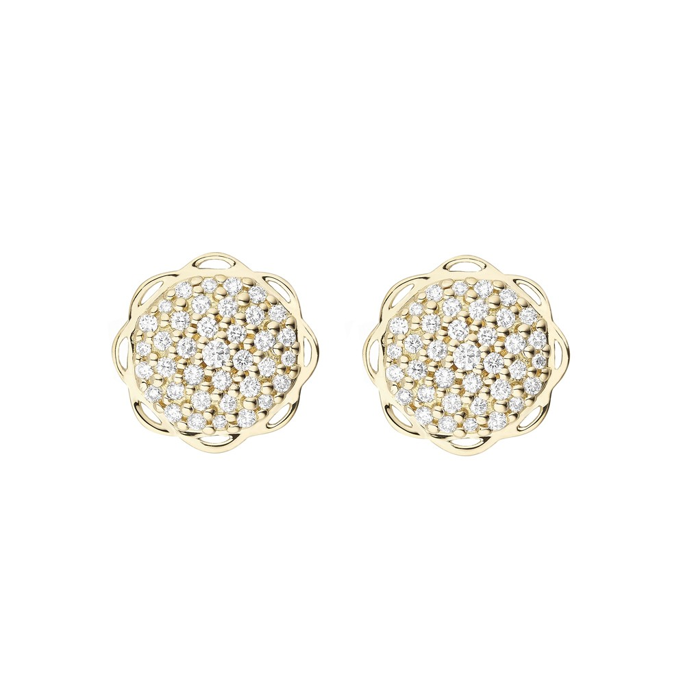 18K Yellow Gold Flora Single Circle Earrings with Lab Created Diamond Pave