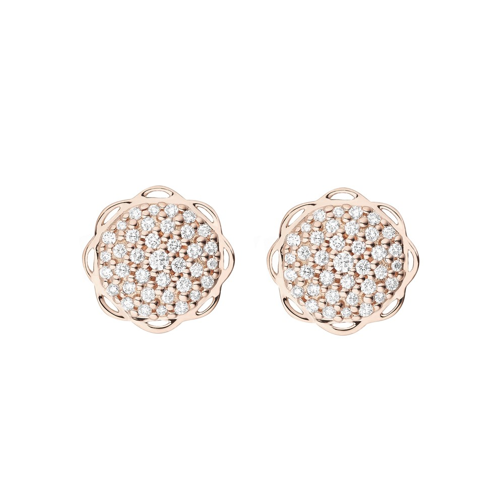 18K Rose Gold Flora Single Circle Earrings with Lab Created Diamond Pave