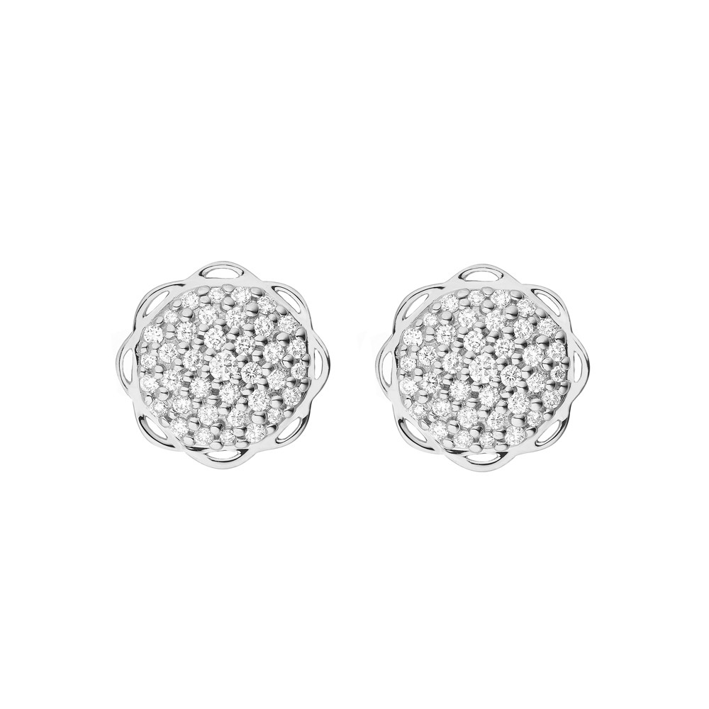 18K White Gold Flora Single Circle Earrings with Lab Created Diamond Pave