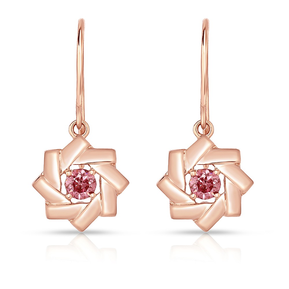 18K Rose Gold Link Earrings with 2 Fancy Intense Pink (0.21cttw) Lab-Grown Diamond Solitaires