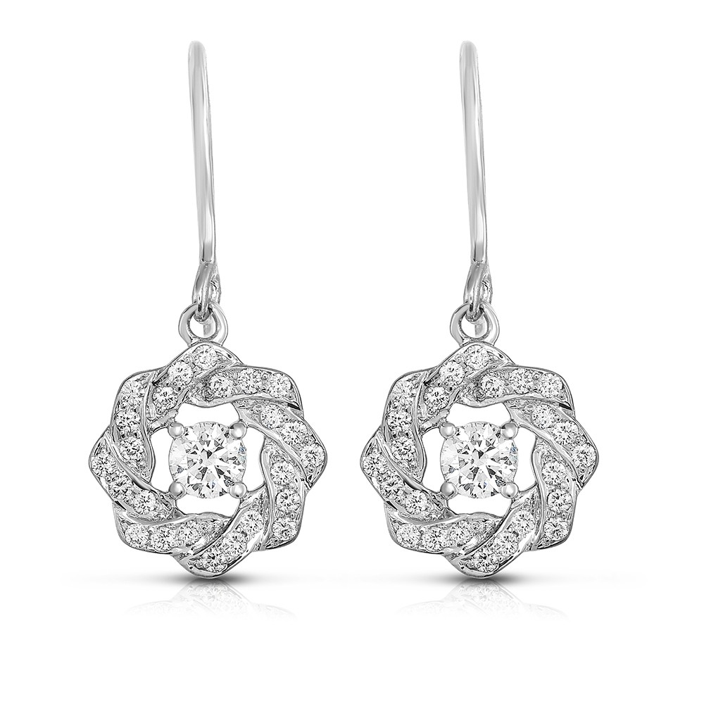 18K White Gold Link Earrings with 50 Lab-Grown Diamonds