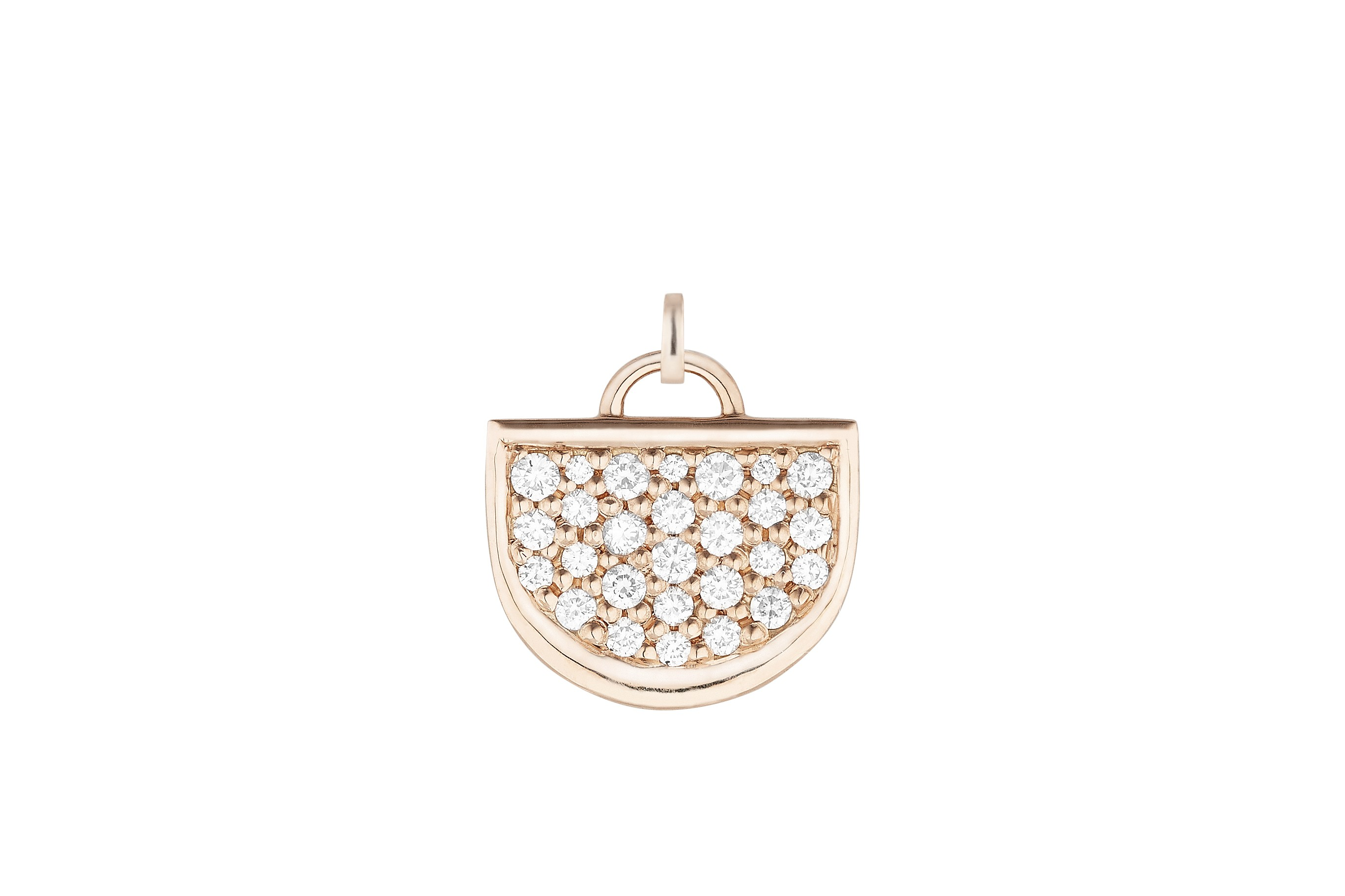18K Rose Gold Monogram Single D Charm with Lab Created Diamond Pave w/Removable Bail