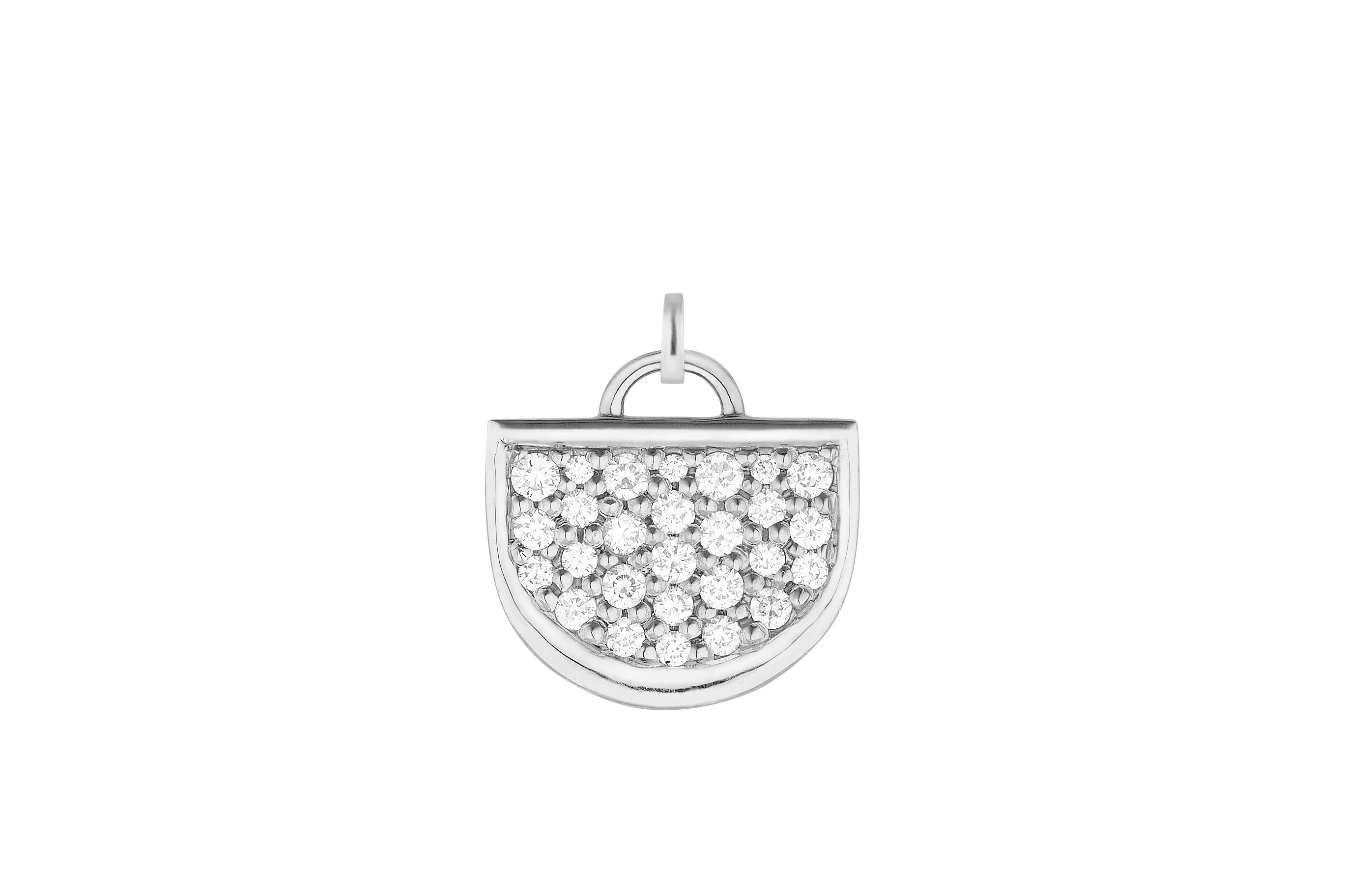 18K White Gold Monogram Single D Charm with Lab Created Diamond Pave w/Removable Bail