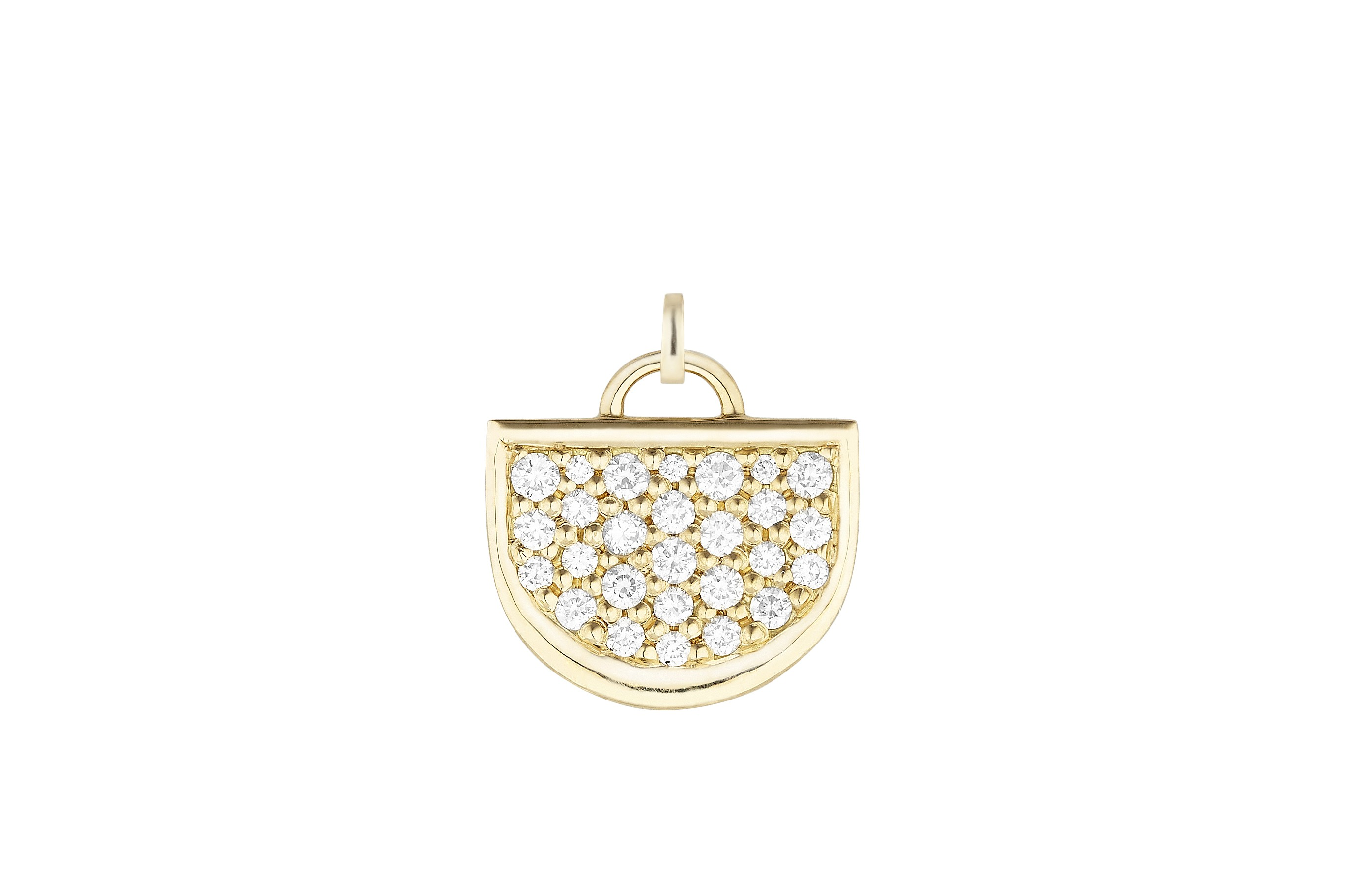18K Yellow Gold Monogram Single D Charm with Lab Created Diamond Pave w/Removable Bail