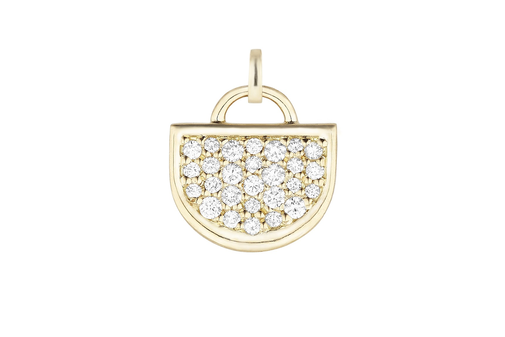 18K Yellow Gold Large Monogram Single D Charm with Lab Created Diamond Pave w/Removable Bail