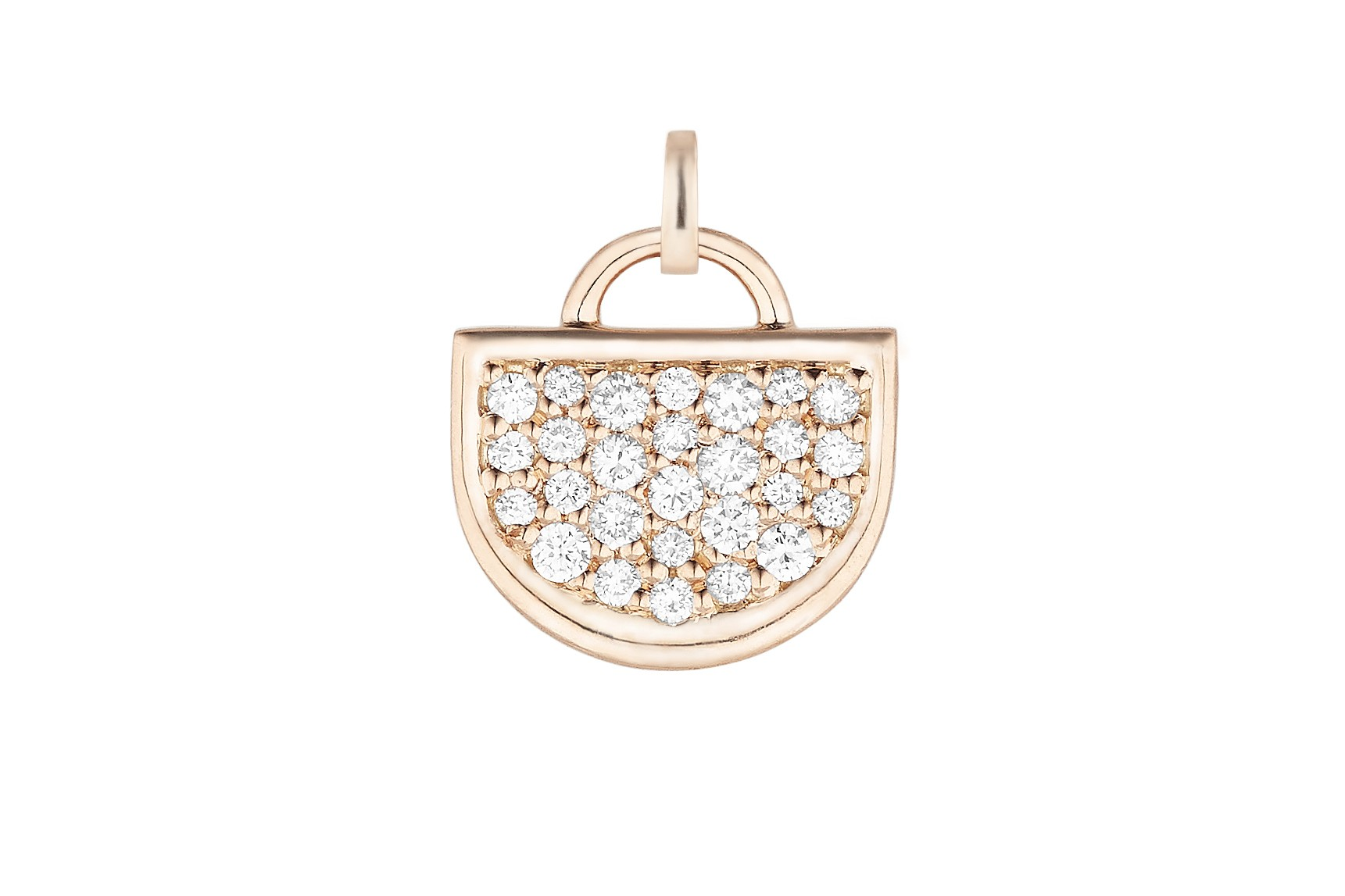 18K Rose Gold Large Monogram Single D Charm with Lab Created Diamond Pave w/Removable Bail