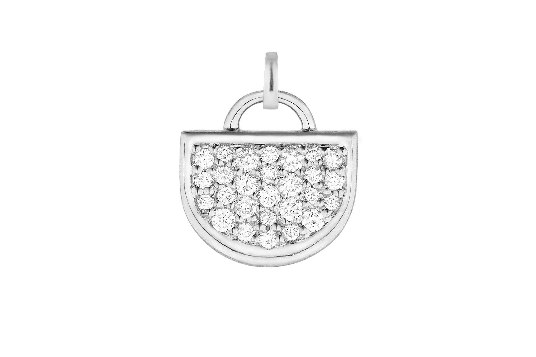 18K White Gold Large Monogram Single D Charm with Lab Created Diamond Pave w/Removable Bail