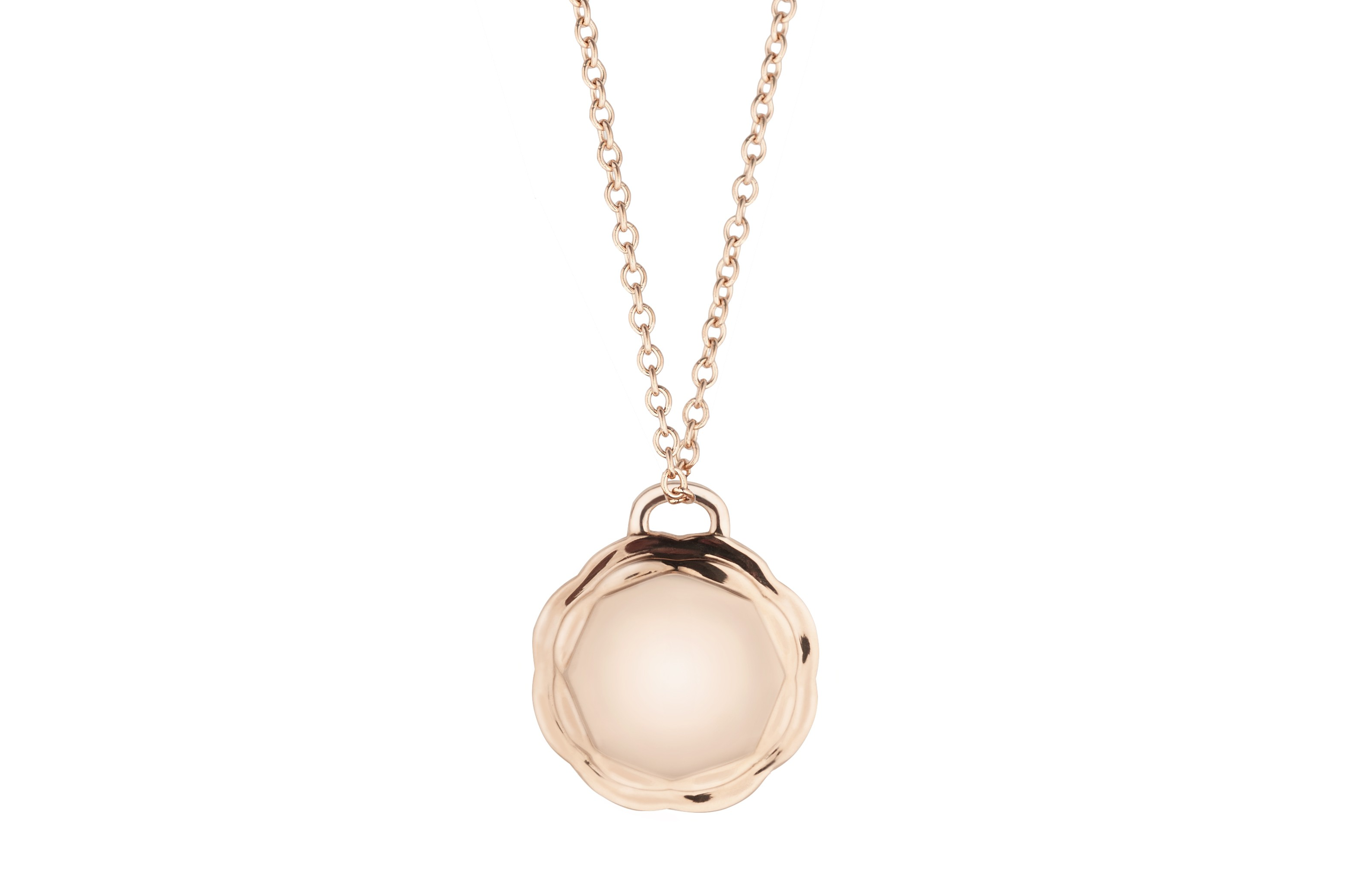 18K Rose Gold Flora Double Circle Pendant on AIDIA Extendable Link Chain